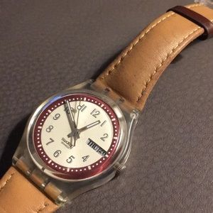 Rare Vintage Swatch Watch with leather strap
